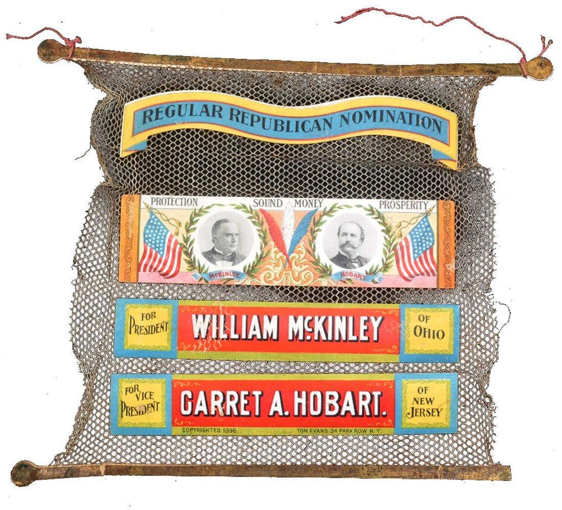 """Wm. McKinley & G.A. Hobart 1896 Campaign """"Saftey Net"""""""