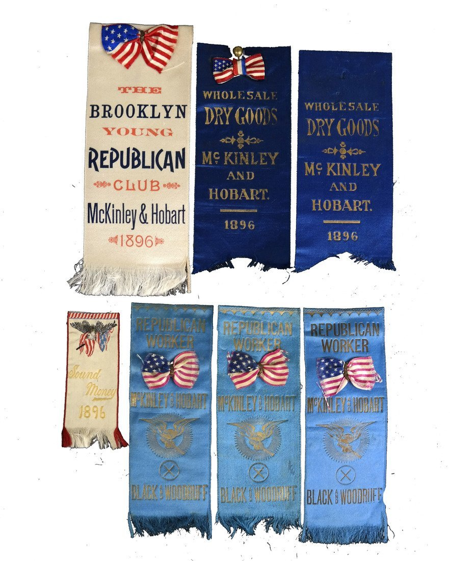 Wm. McKinley & G.A. Hobart Seven  1896 Campaign Ribbons