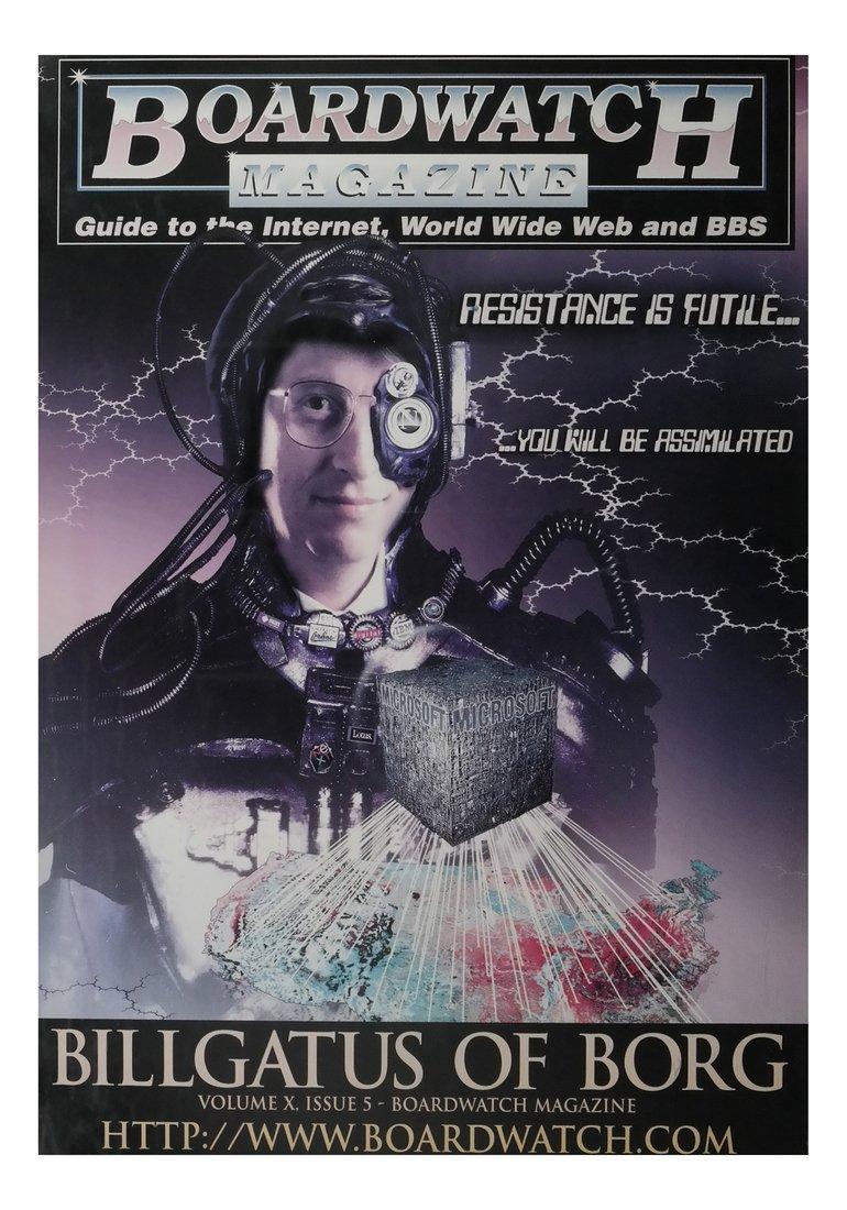 Boardwatch 'BILLGATUS OF BORG' Poster, 1996