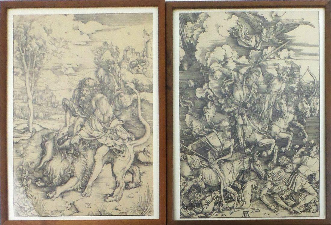 Two Woodcut Prints After Albrecht Durer