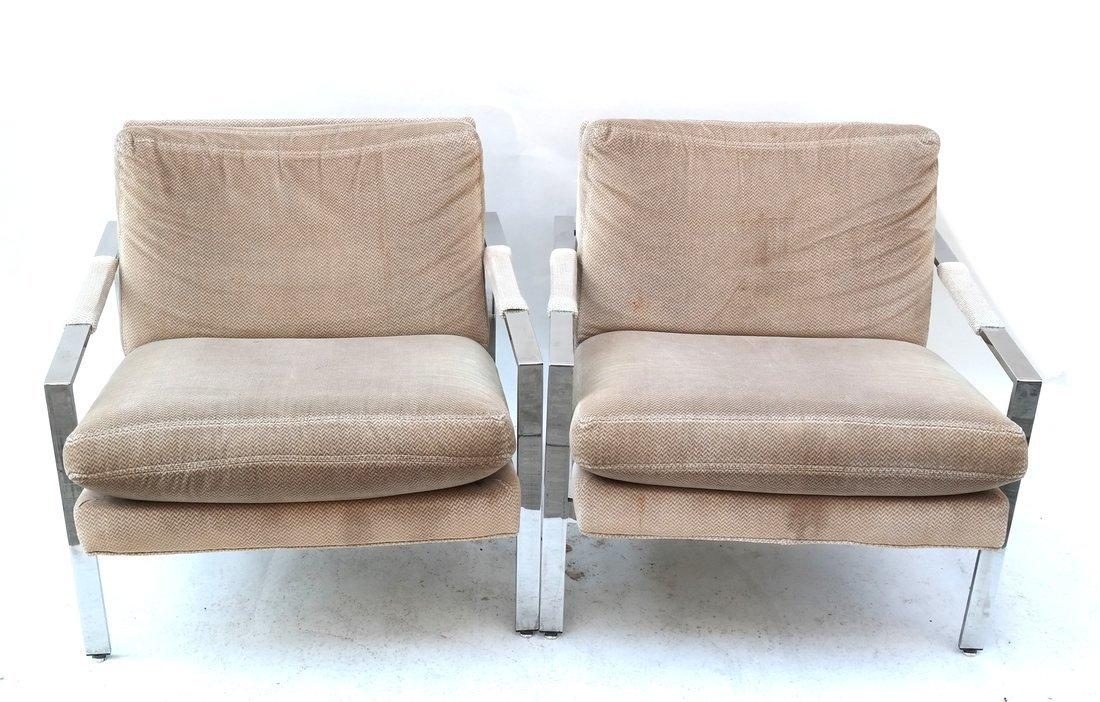 Pair of Milo Baughman Style Armchairs