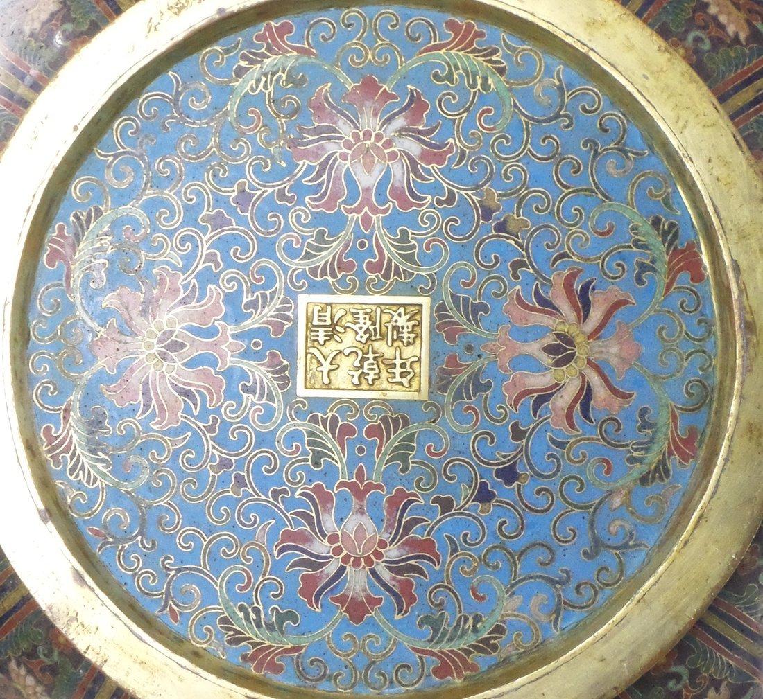 Pair of Decorated Enamel Vases - 10