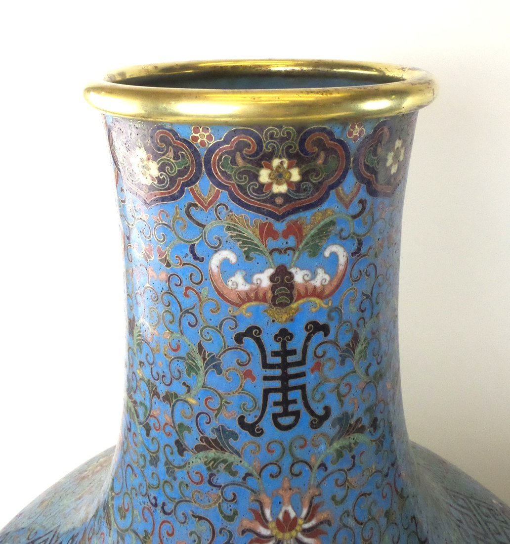 Pair of Decorated Enamel Vases - 4