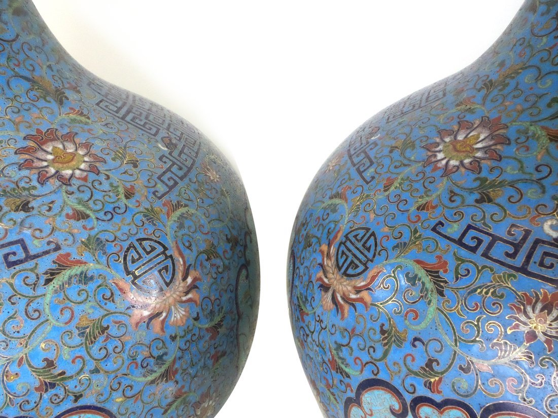 Pair of Decorated Enamel Vases - 5