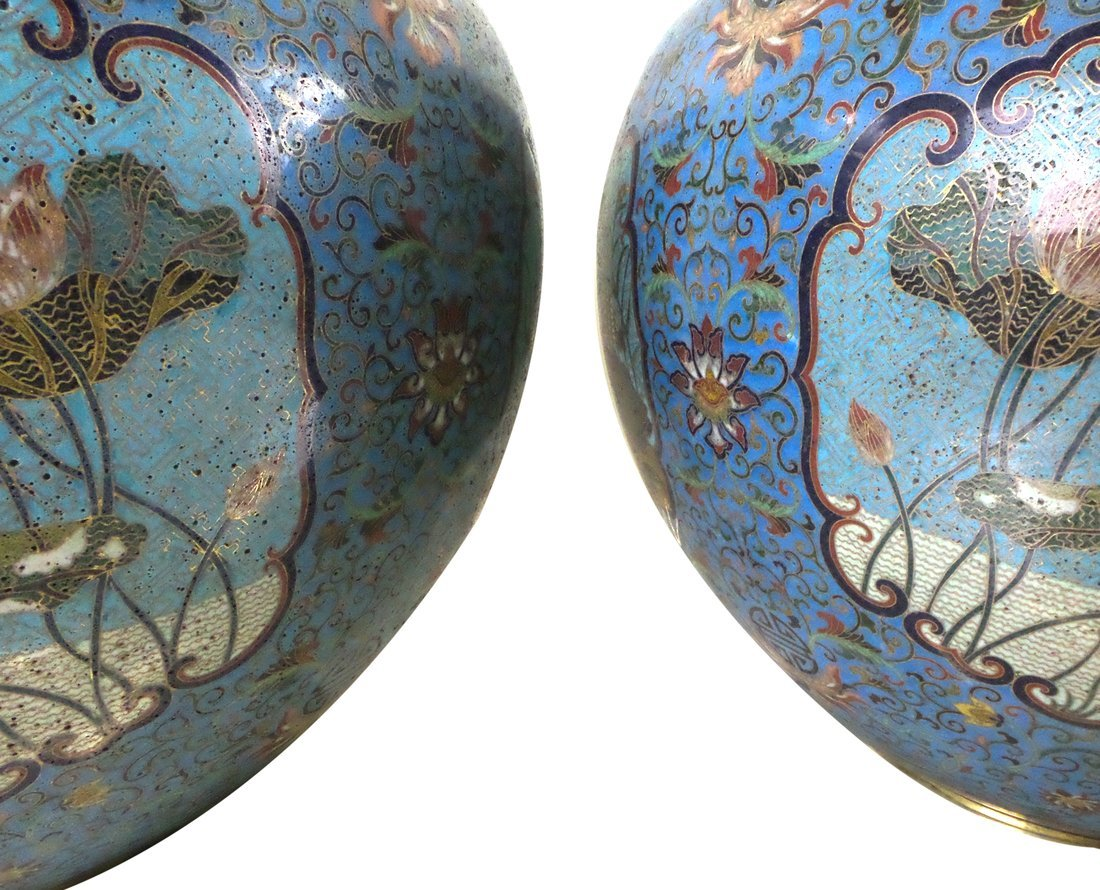 Pair of Decorated Enamel Vases - 6