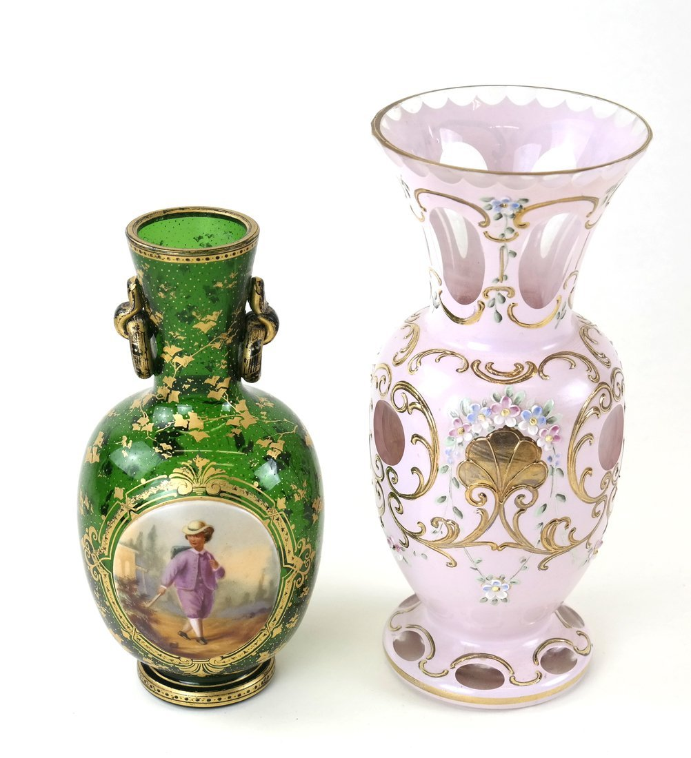 Two Bohemian Glass Vases