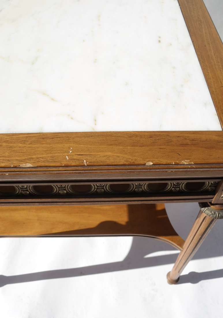 Louis XVI-Style Marble Inset Table - 4