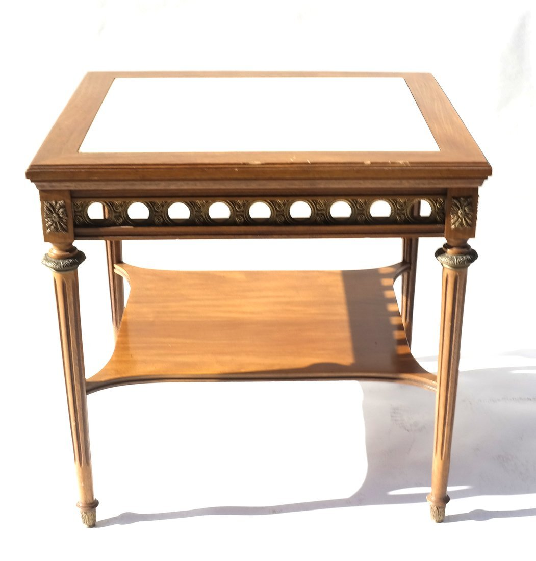 Louis XVI-Style Marble Inset Table - 5