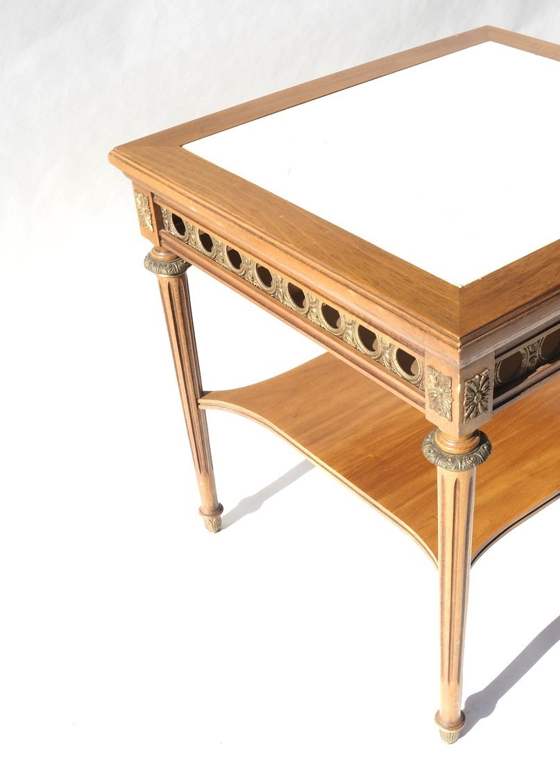 Louis XVI-Style Marble Inset Table - 7