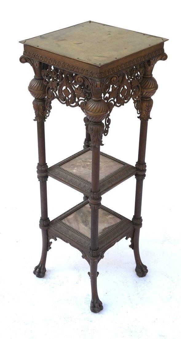 Victorian Bronze Marble Pedestal