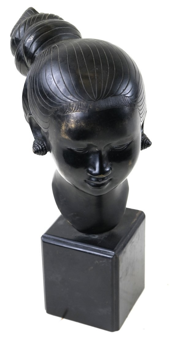 Chinese Bronze Head Of A Young Woman