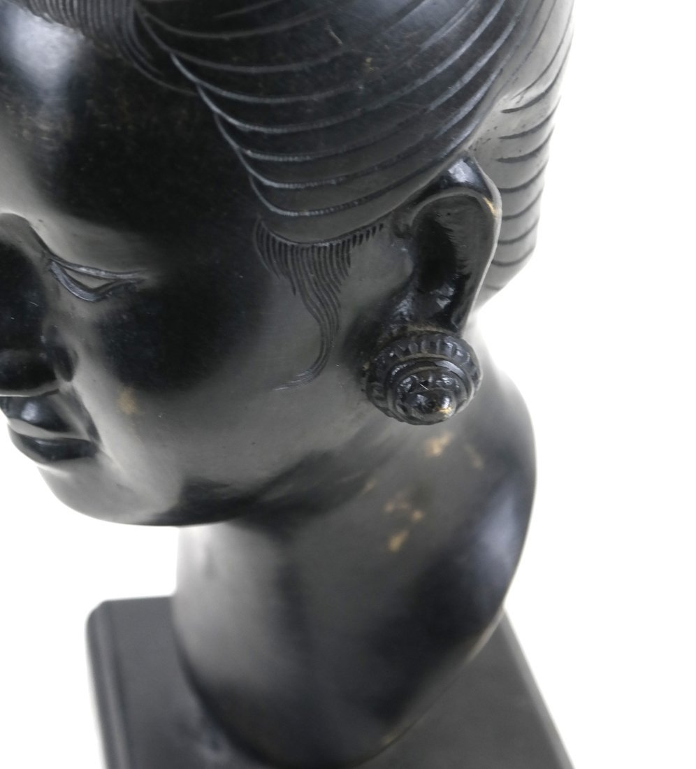 Chinese Bronze Head Of A Young Woman - 5