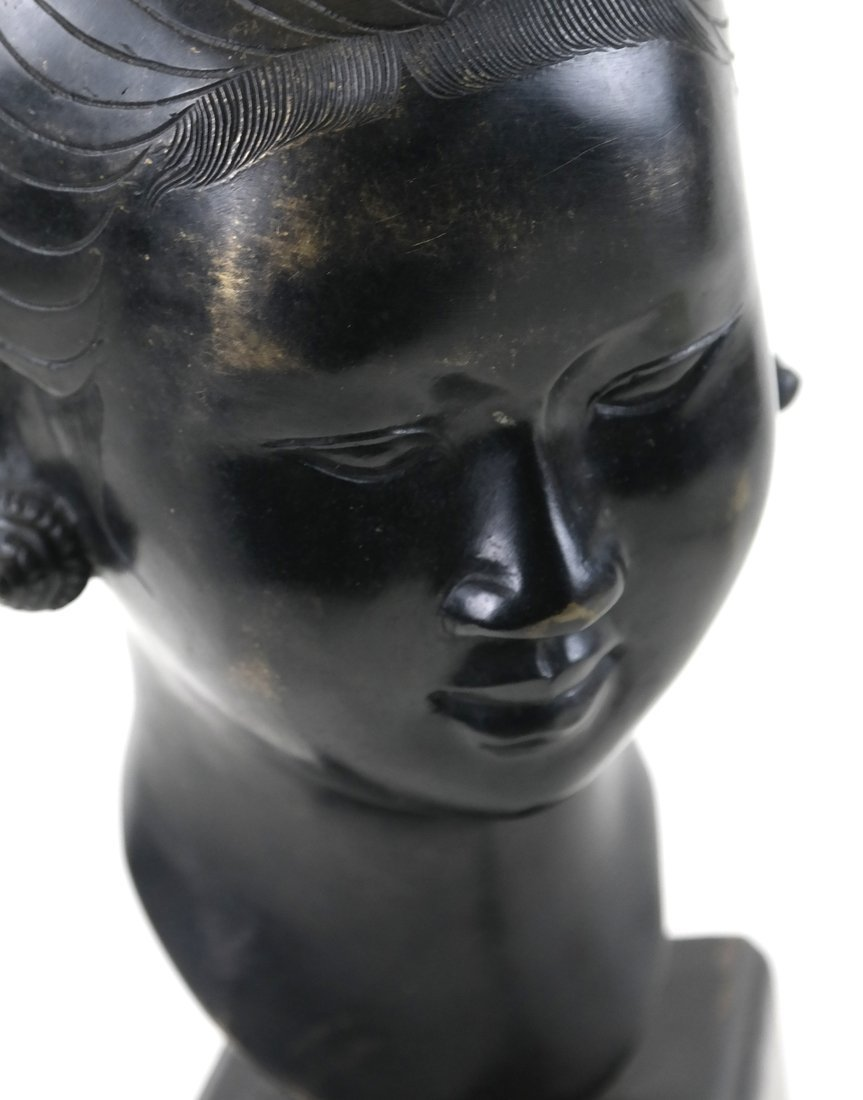 Chinese Bronze Head Of A Young Woman - 6