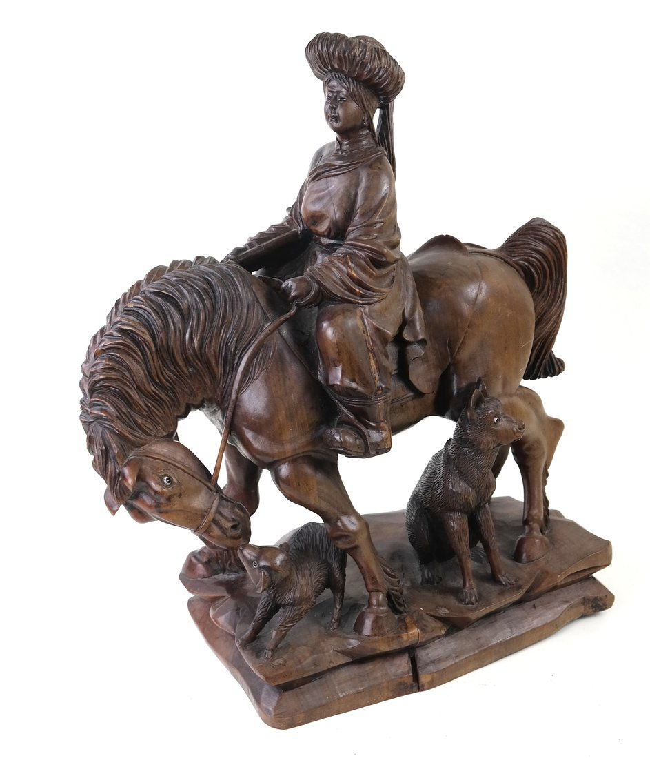 Asian Carved Hardwood Figural Group