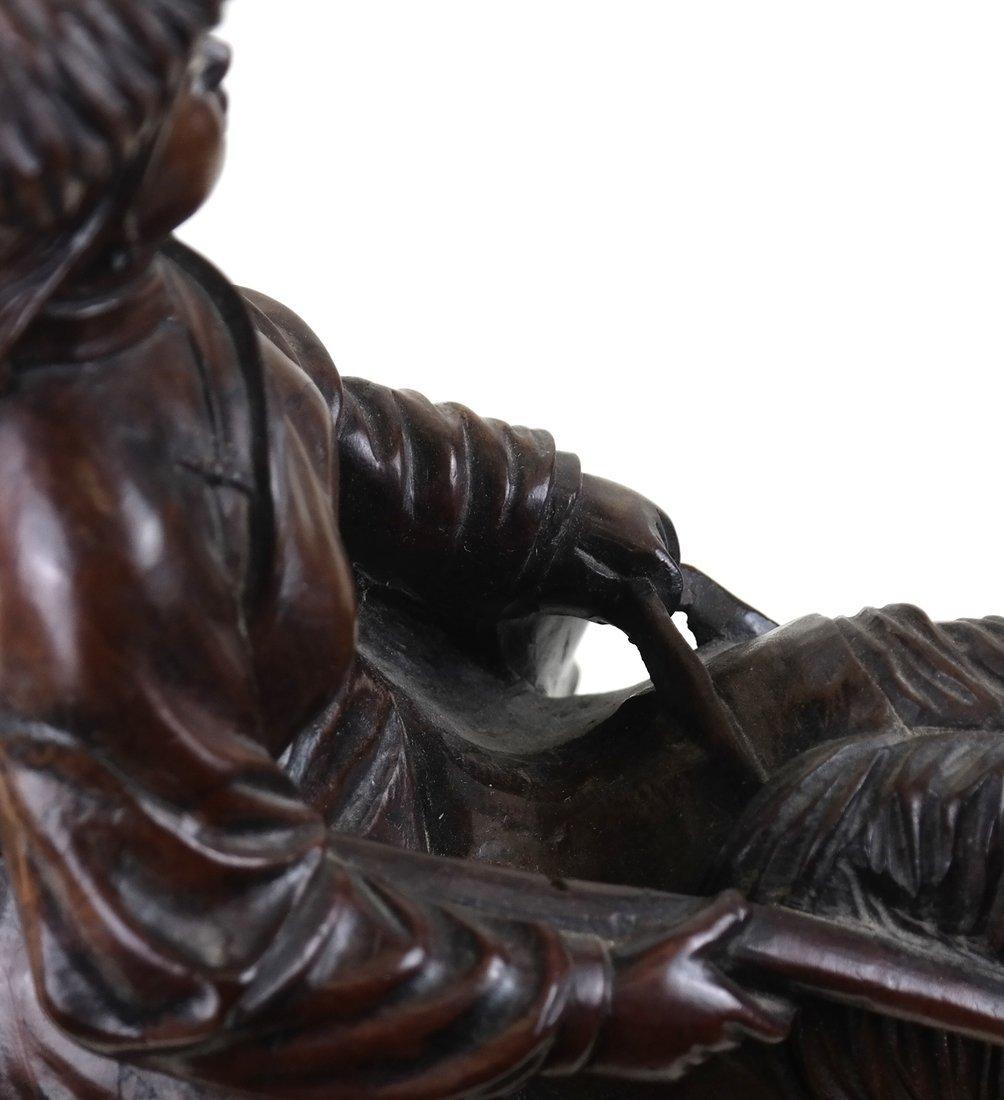 Asian Carved Hardwood Figural Group - 9