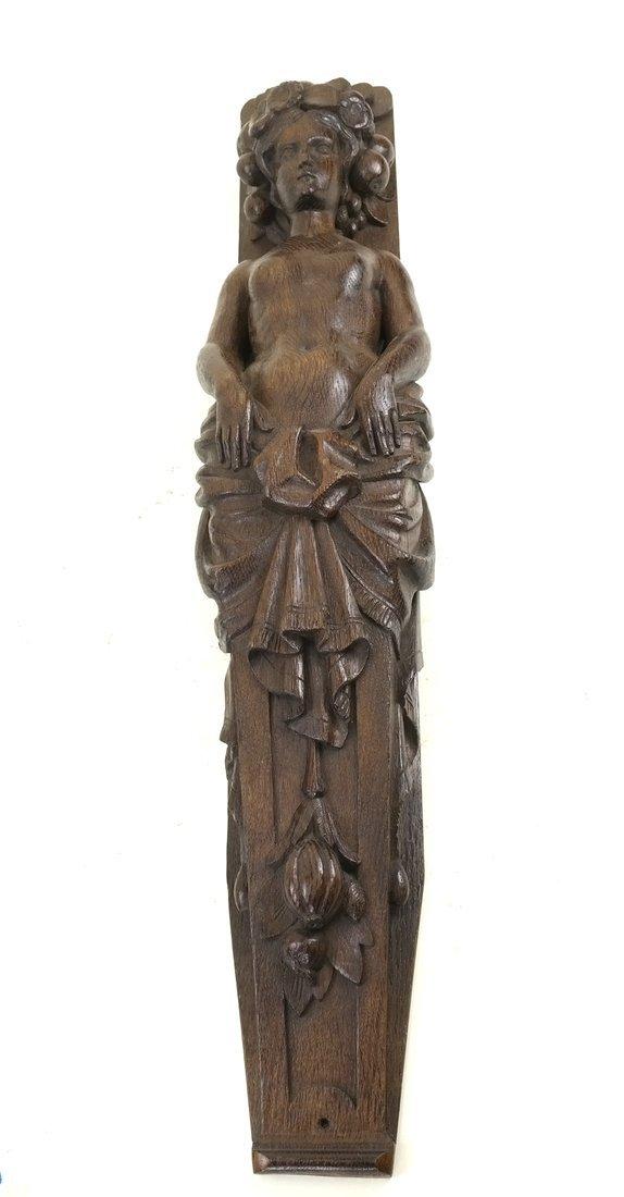 Carved Hardwood Caryatid Applique