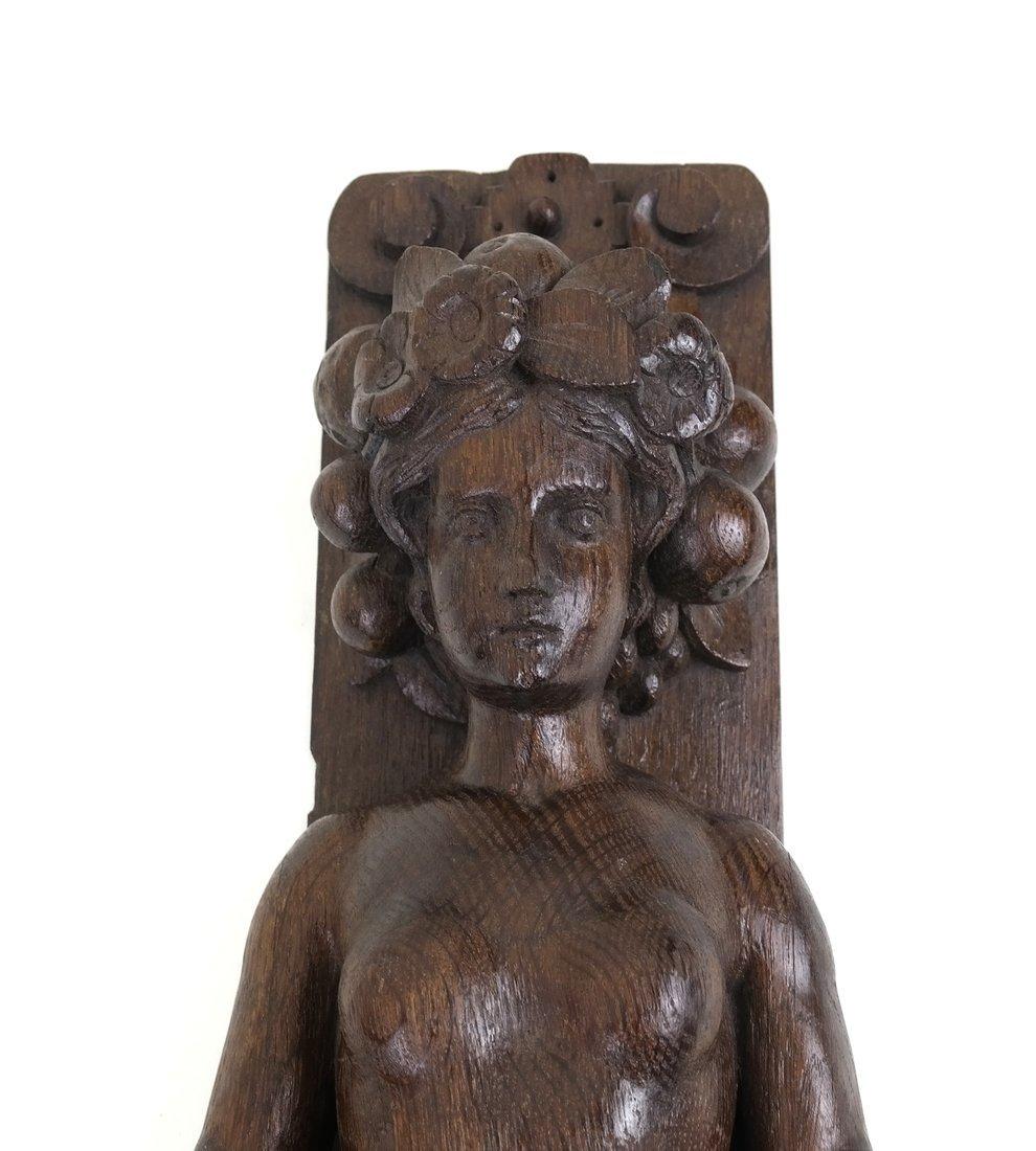 Carved Hardwood Caryatid Applique - 3