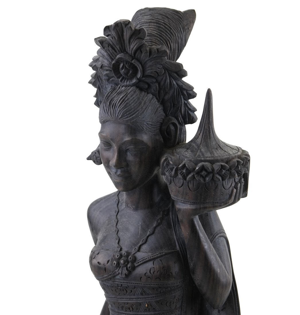 Carved Balinese Female Bust - 2