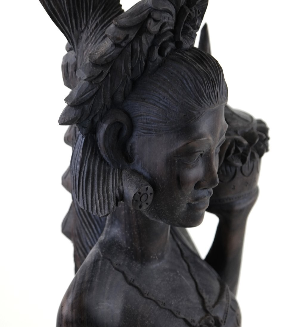 Carved Balinese Female Bust - 5