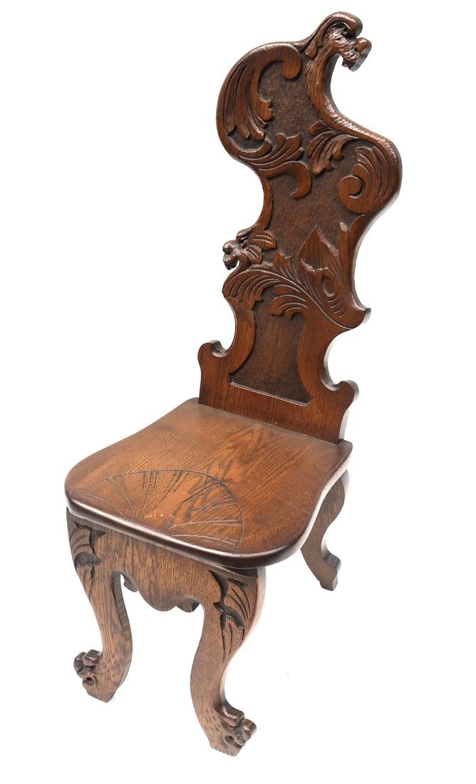 Carved Walnut Hall Chair