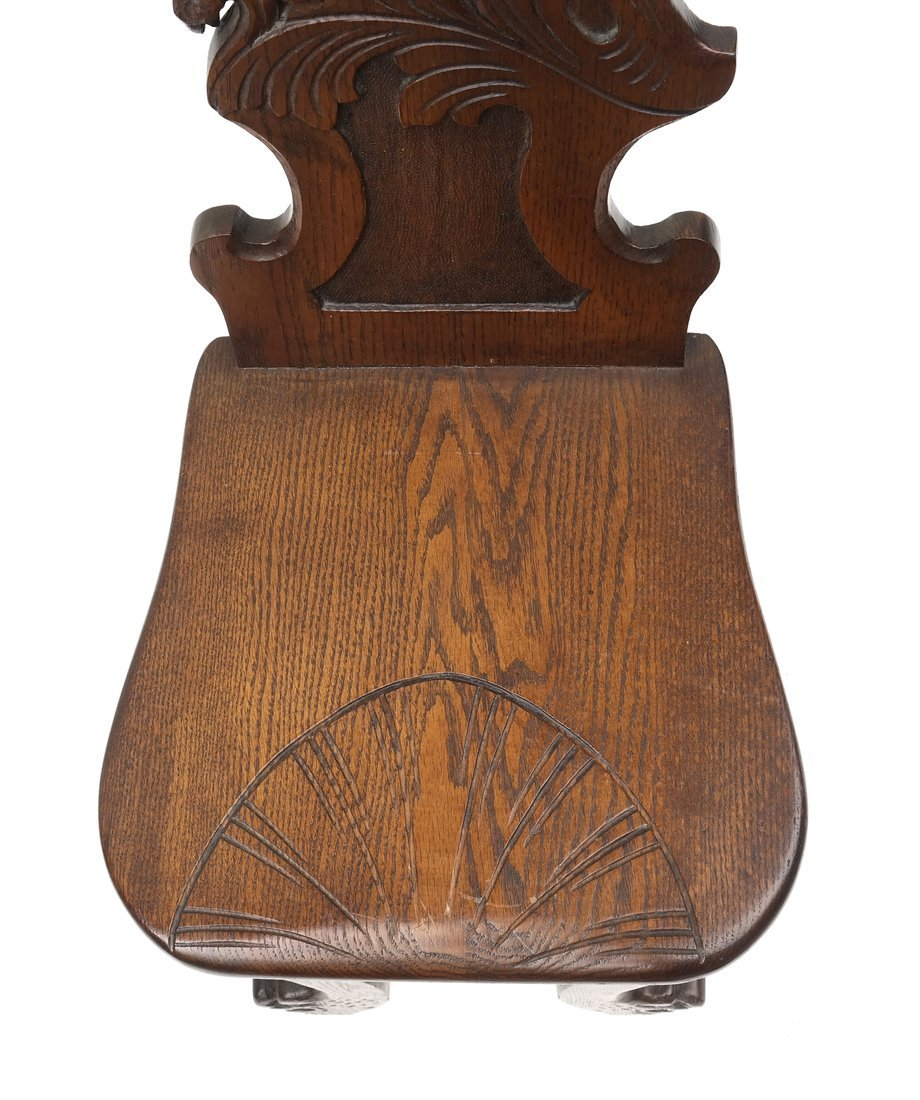 Carved Walnut Hall Chair - 2
