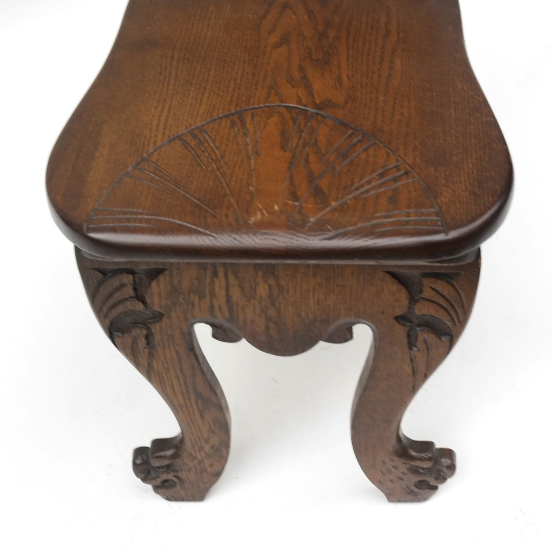 Carved Walnut Hall Chair - 3