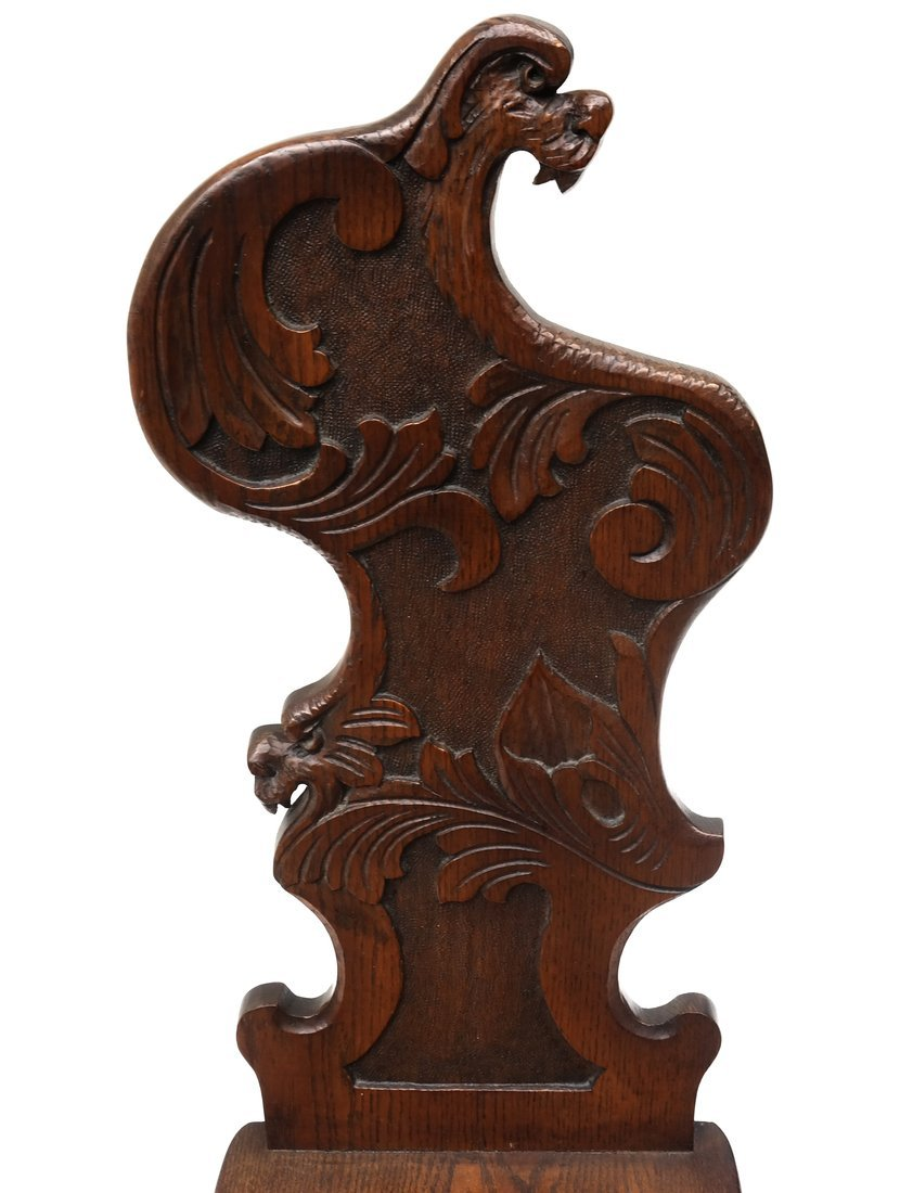 Carved Walnut Hall Chair - 4