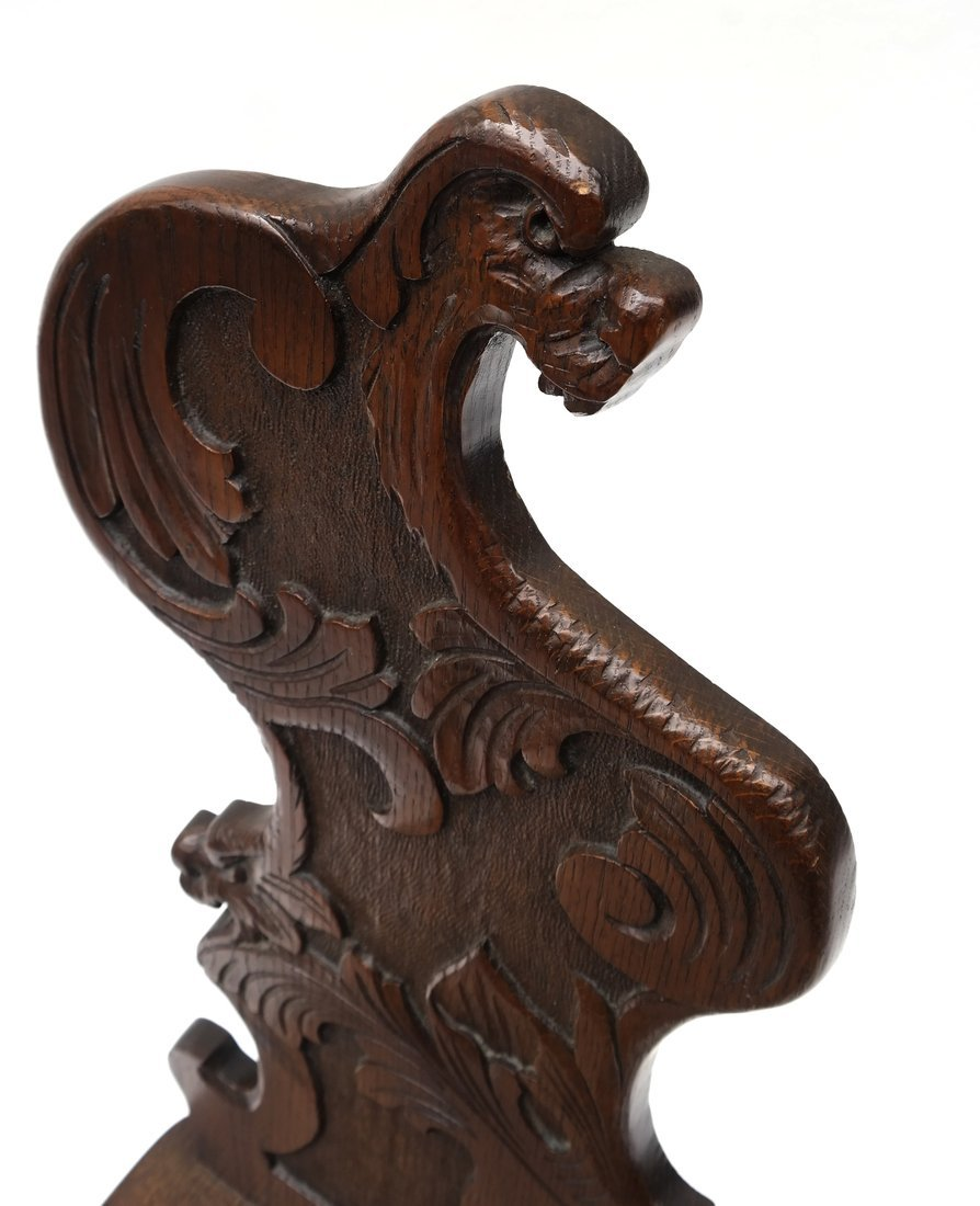 Carved Walnut Hall Chair - 5