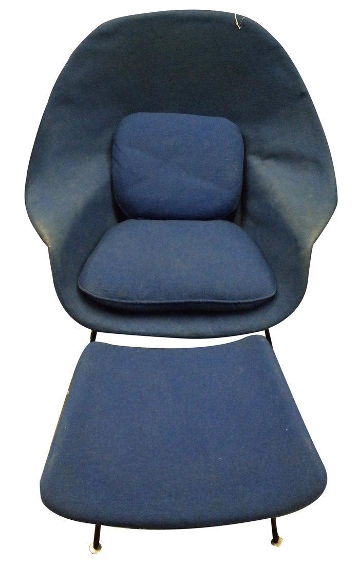 Modern Upholstered Armchair & Ottoman