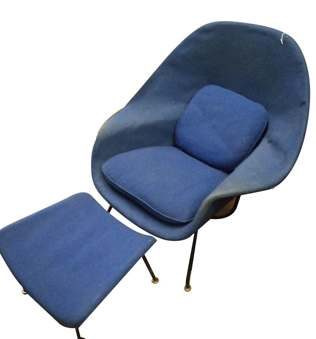 Modern Upholstered Armchair & Ottoman - 2