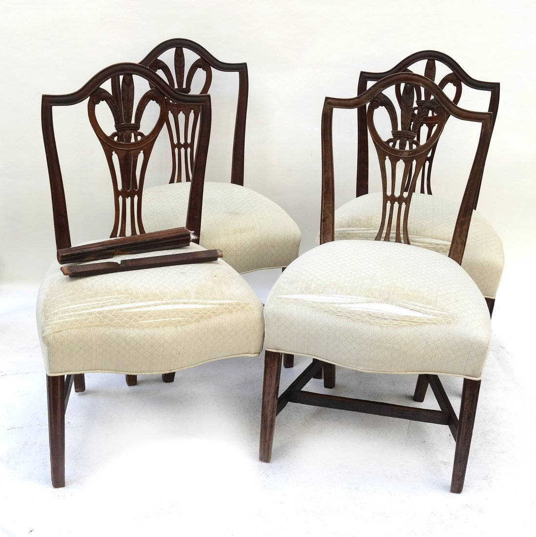 Set Of Four Wheat Back Side Chairs