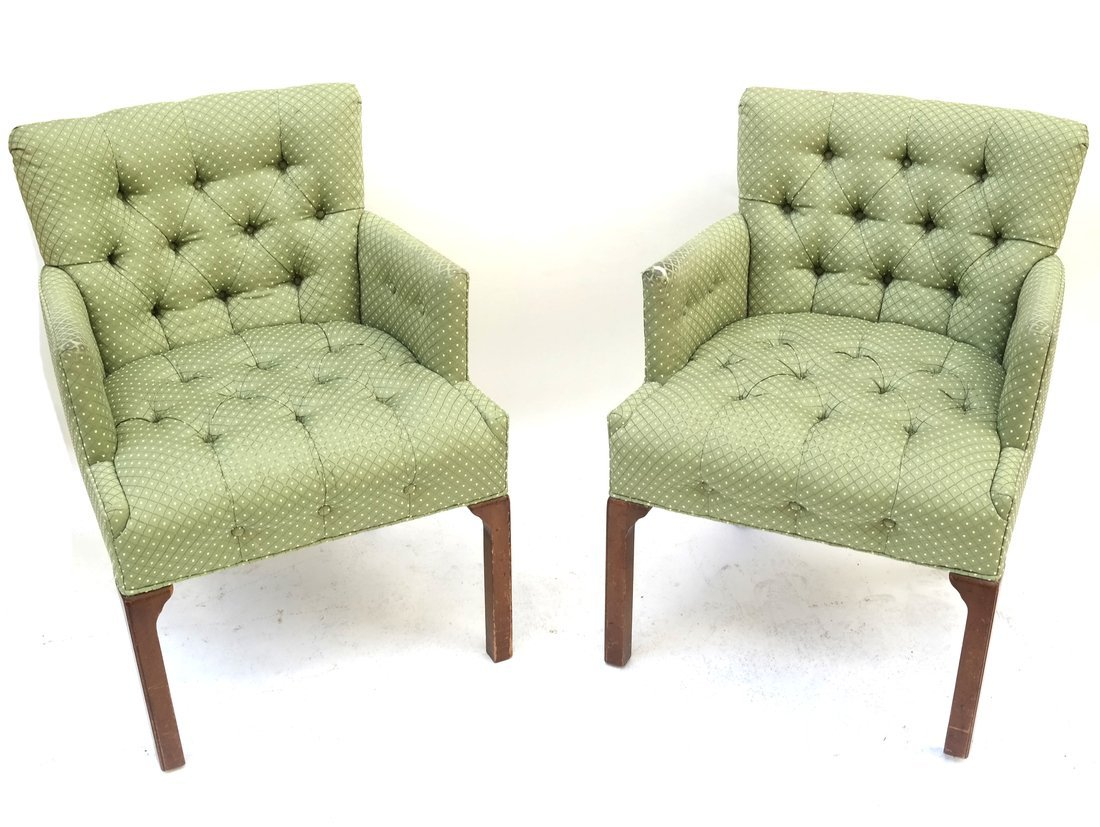 Pair Of Green Tufted Chairs