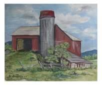 Farm Scene Oil On Canvas
