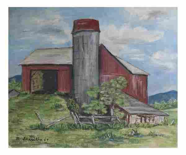 Farm Scene, Oil On Canvas