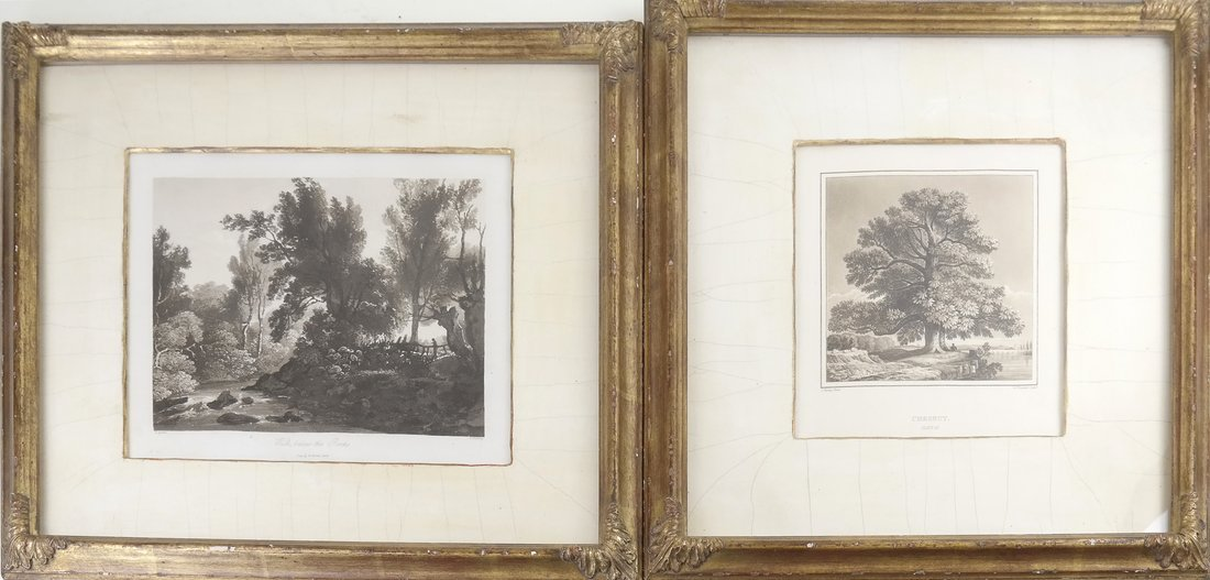 Two Antique Tree Lithographs