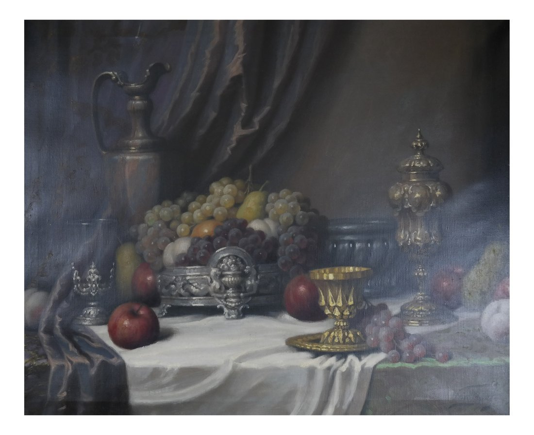 J. Friedlinger Still Life, Oil on Canvas