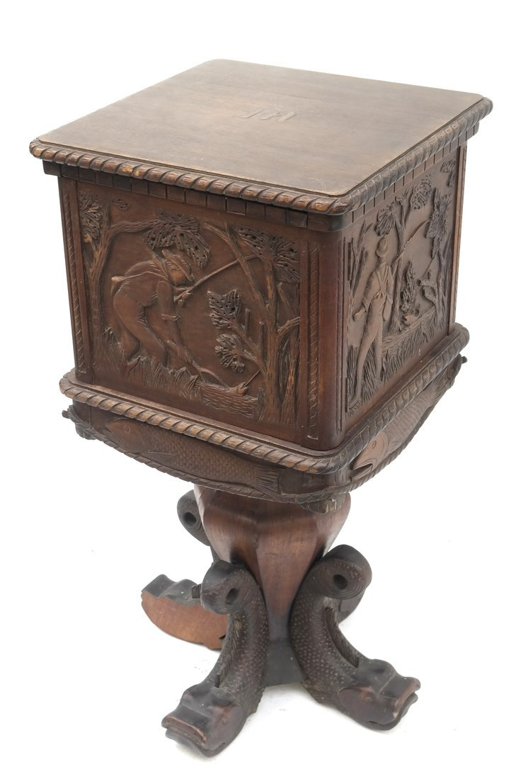 Oak Prohibition Revolving  Pedestal Cabinet