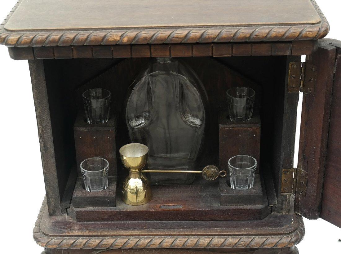 Oak Prohibition Revolving  Pedestal Cabinet - 2