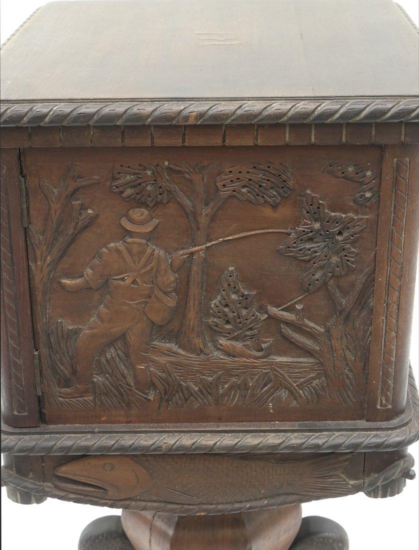 Oak Prohibition Revolving  Pedestal Cabinet - 3