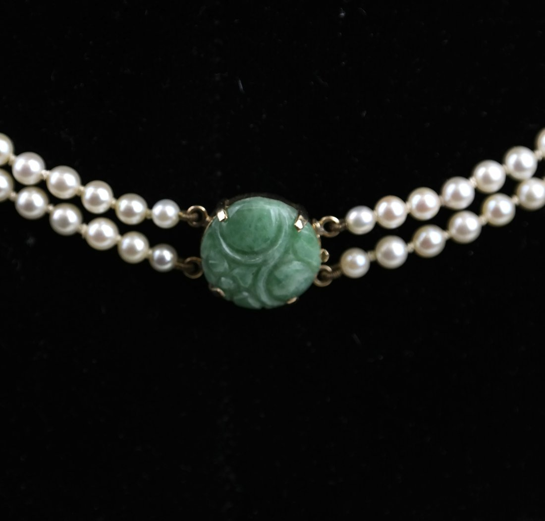 14k Gold & Jade Double Strand Pearls - 3