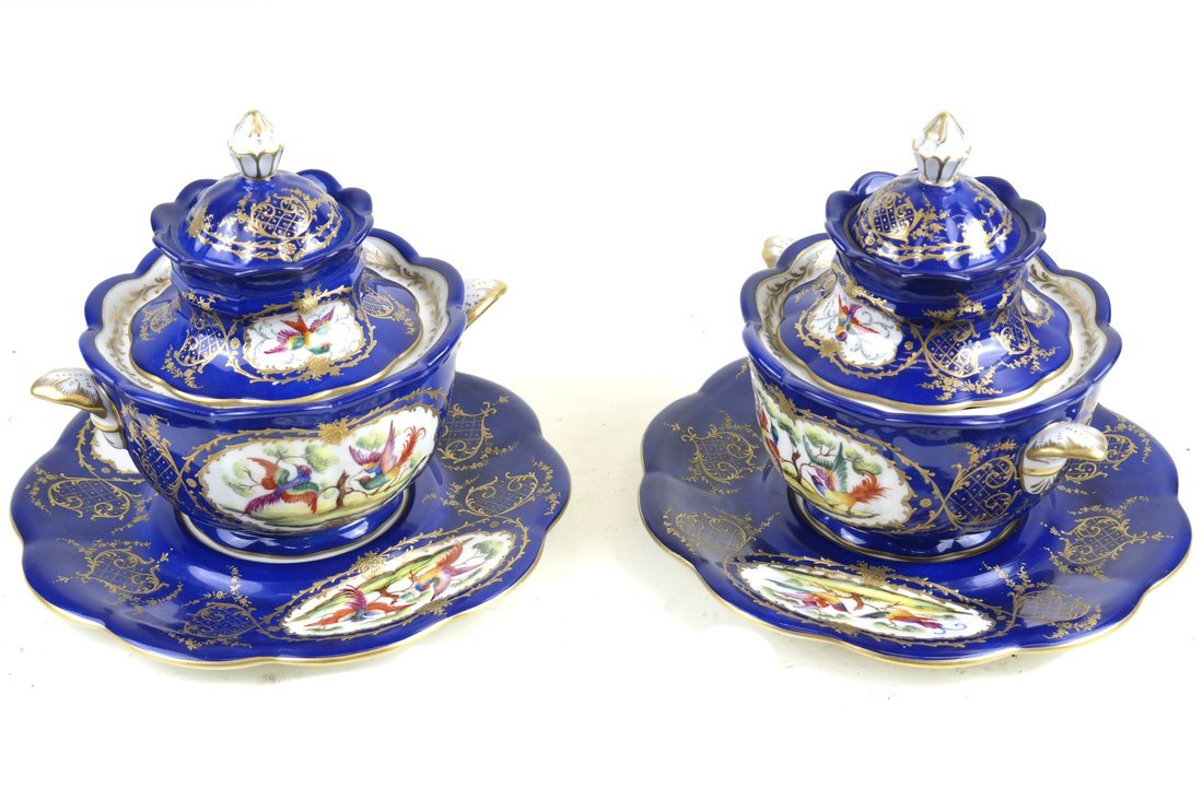 Pair Paris Porcelain Covered Bowls
