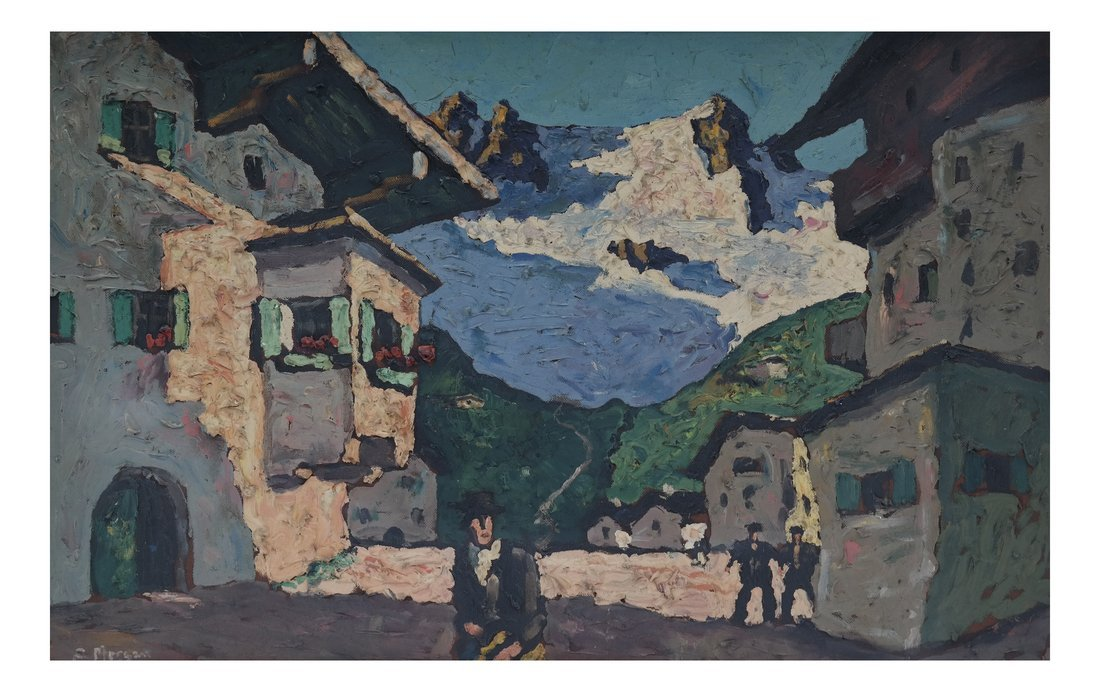 E. Morgan, Village Scene, Impasto