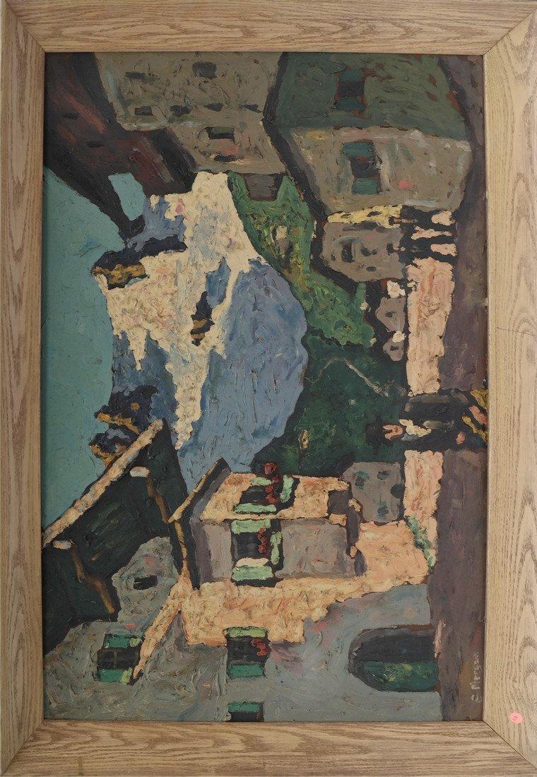 E. Morgan, Village Scene, Impasto - 2