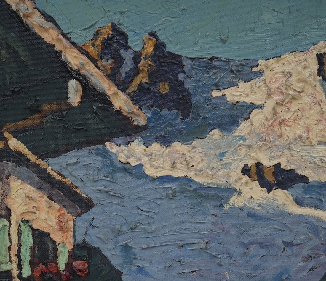 E. Morgan, Village Scene, Impasto - 5