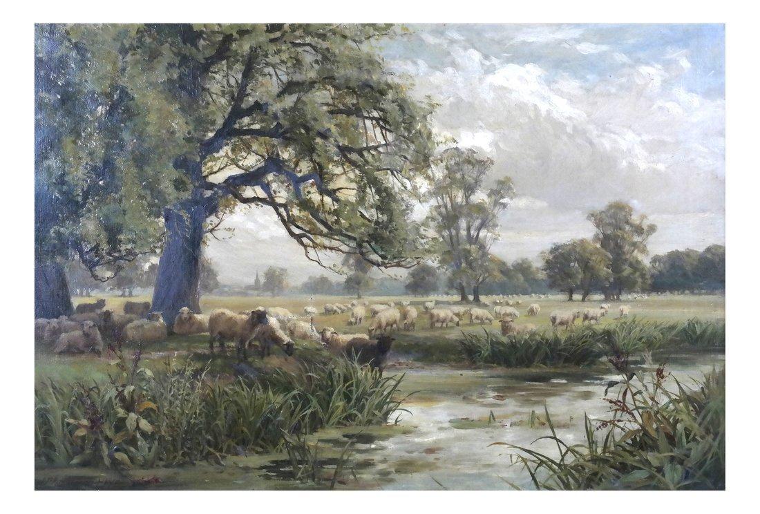 John Macpherson - Landscape with Sheep