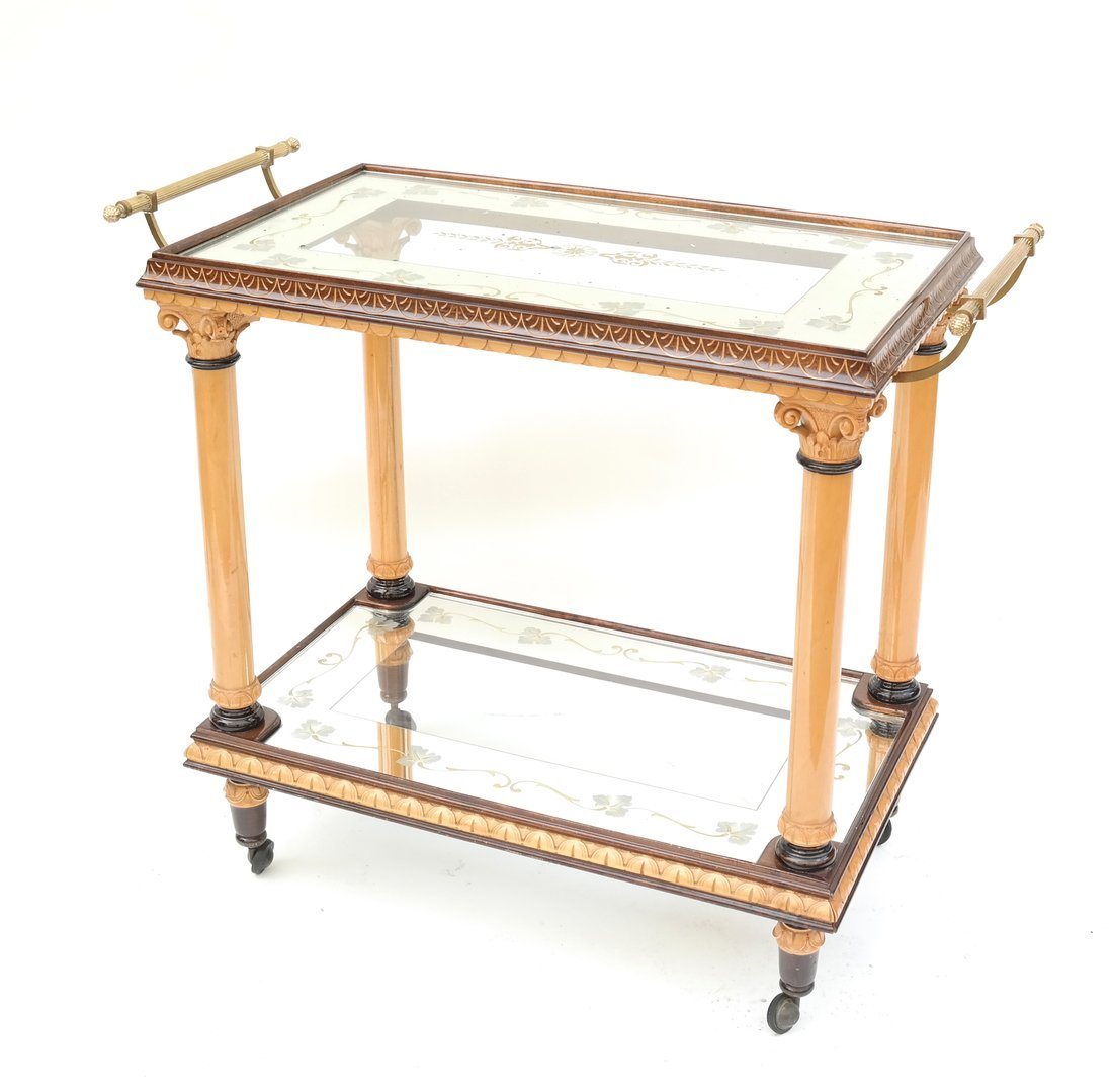 Two Tier Mirrored Service Cart - 10