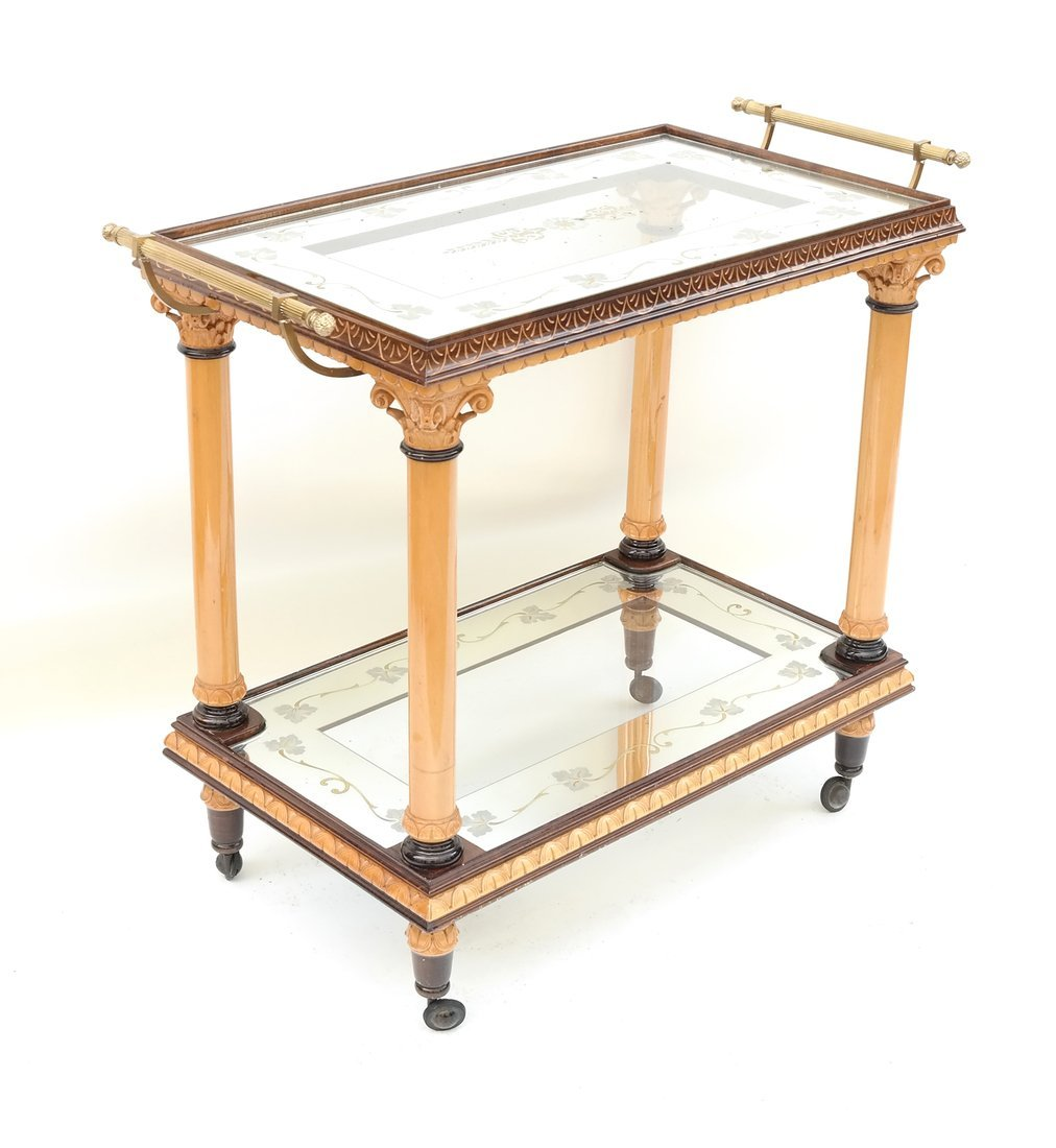 Two Tier Mirrored Service Cart - 3