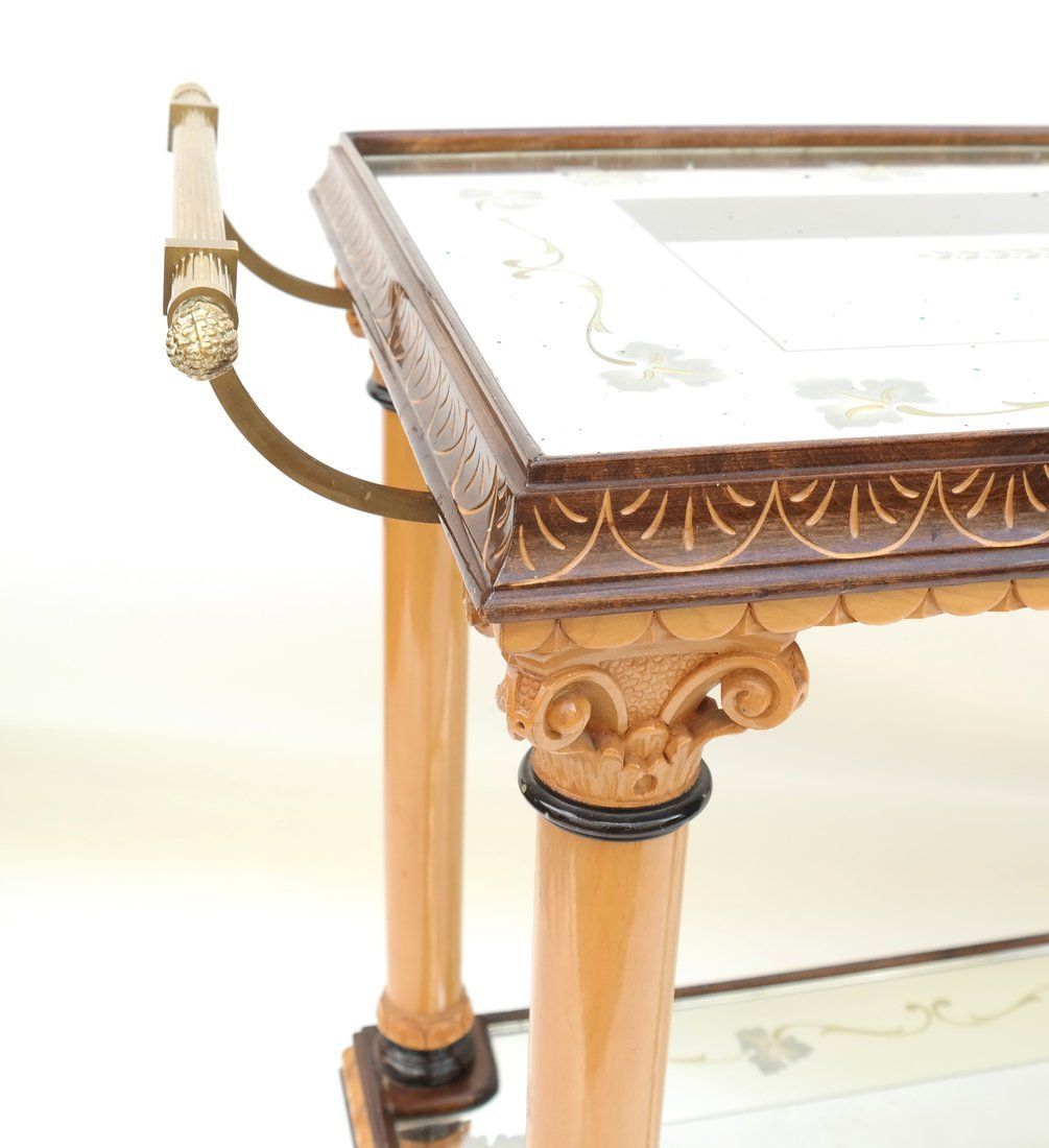 Two Tier Mirrored Service Cart - 4