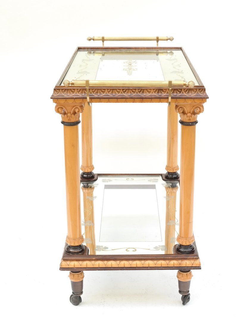 Two Tier Mirrored Service Cart - 8