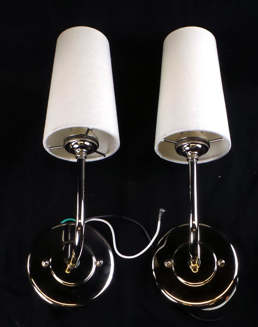 Pair of Modern Chrome Wall Sconces
